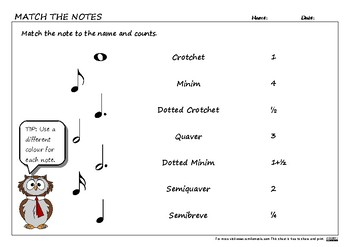 Match the Notes to their counts worksheet.