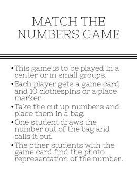 Match the Numbers Game