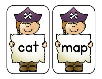 Yo ho! A Treasure of CVC Words - Match the treasure to the Pirate!