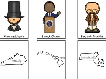 Match the President to the State preschool President Quiz activity.  Preschool.