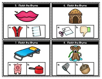 Match the Rhyme Task Card Set