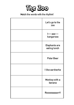 Match the Rhythm Music Lesson Printable - The Zoo