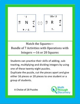 Match the Squares Puzzle -4 Operations with Integers -16-20 Squares