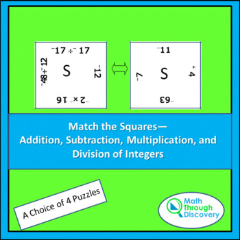 Match the Squares Puzzle -4 Operations with Integers -16-2