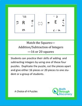 Middle School:  Match the Squares Puzzle-Add/Subt of Integers-16/20 Squares