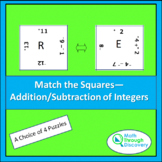 Match the Squares Puzzle - Add/Subtract of Integers-16/20 Squares