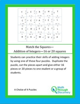 Middle School:  Match the Squares Puzzle - Addition of Integers - 16-20 Squares