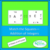 Match the Squares Puzzle - Addition of Integers - 16-20 Squares