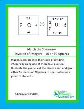 Middle School:  Match the Squares Puzzle - Division of Integers - 16-20 Squares