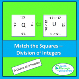 Match the Squares Puzzle - Division of Integers - 16-20 Squares