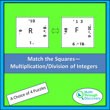 8th Grade:  Match the Squares Puzzle- Multiplication and D