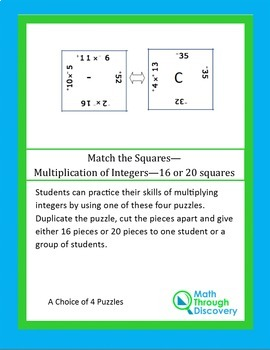 Middle School:Match the Squares Puzzle- Multiplication of Integers-16/20 Squares