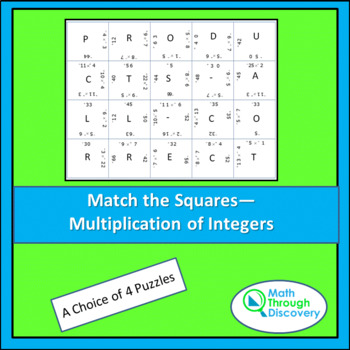 Match the Squares Puzzle- Multiplication of Integers - 16-