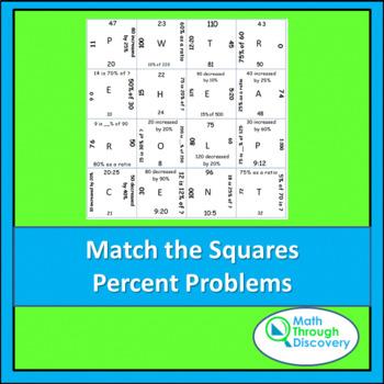 Match the Squares Puzzle-  Percent Problems
