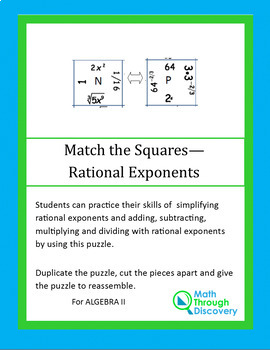 Match the Squares Puzzle - Rational Powers