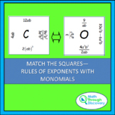 Algebra 1 - Match the Squares  Puzzle  - Rule of Exponents