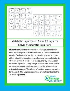 Match the Squares Puzzle- Solving Quadratic Equations - 16/20 cards