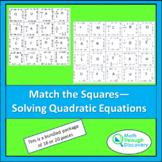 Match the Squares Puzzle - Solving Quadratic Equations - 16/20 cards