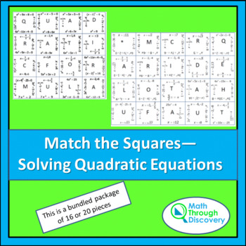 Algebra I:  Match the Squares Puzzle- Solving Quadratic Eq