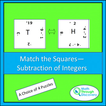 Middle School:Match the Squares Puzzle - Subtraction of Integers - 16/20 Squares