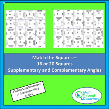 Match the Squares - Supplementary and Complementary Angles