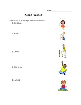 Match the action with the picture