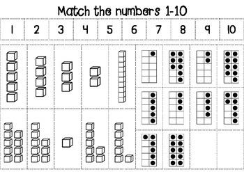 Match the numbers 1-10 - FREEBIE - No PREP worksheet
