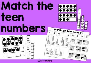 Match the teen numbers - FREEBIE - No PREP worksheet