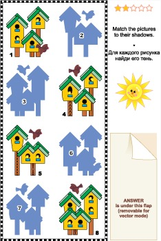 Match to Shadow Visual Puzzle – Birdhouses, Commercial Use Allowed