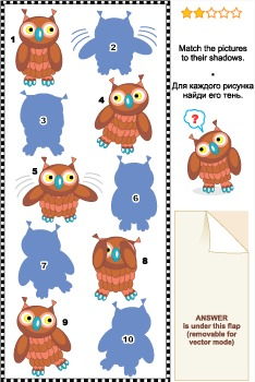 Match to Shadow Visual Puzzle – Owls, Commercial Use Allowed