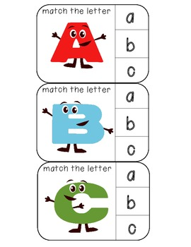 Match uppercase to lowercase letters clothespin activity cards