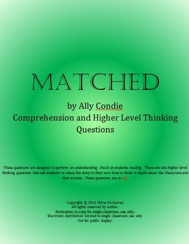 Matched Ally Condie 344 Chapter Questions, 164 Vocab Words, and Bonus Material