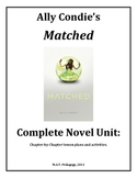 Matched, Condie, Lesson plan unit, Popular YA Novel, 129 pages.