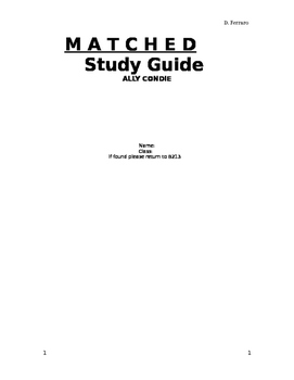 Matched by Allie Condie Study Guide