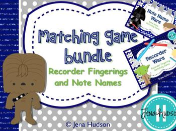 Matching Game Bundle: Recorder Fingerings and Note Name