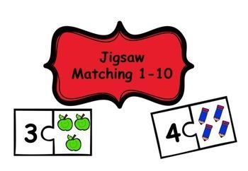 Maths Matching 1-10 Jigsaw Pieces