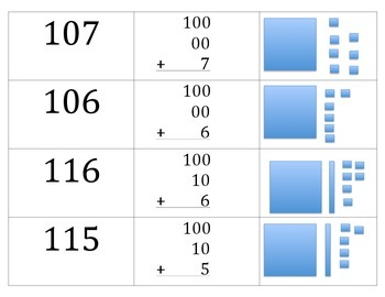 Matching 100-119 numerals, expanded form, and base 10 pictures