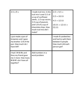 Matching 5th Grade Math Common Core Standards to examples