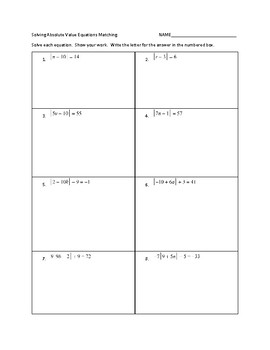 Matching Absolute Value Equations and Inequalities