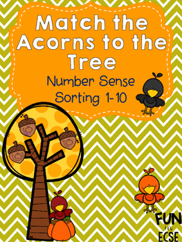 Matching Acorns to the Tree Number Sense 1-10 Activity