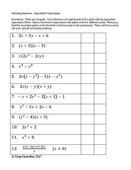 Matching Activity - Equivalent Polynomial Expressions (algebra)