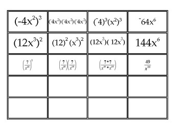 Matching Activity: Expressions with Exponents