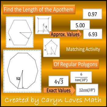 Finding the Apothem of Regular Polygons using Trig~Matchin