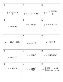 Matching Activity:  Linear, Quadratic, Exponential (algebra)