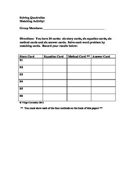 Matching Activity - Solving Quadratics
