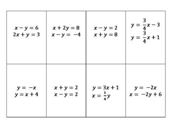 Matching Activity - Super Systems (algebra)
