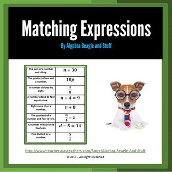 Algebraic Expressions and Equations Matching Acivity