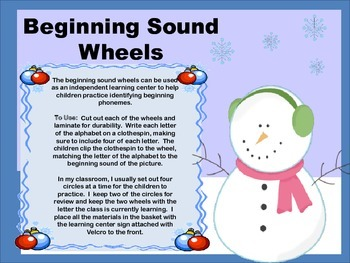 Matching Beginning Sound to Letter Winter Wheels