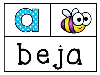 Matching Beginning Sounds with Names from A-Z (Spanish)
