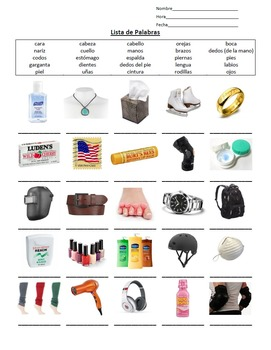 Spanish Matching Body Parts To Objects Visual Worksheet (E